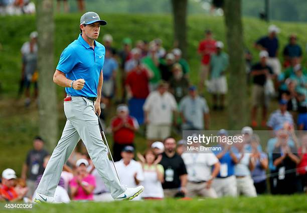 Rory McIlroy of Northern Ireland celebrates a putt for birdie on the tenth hole during the third round of the 96th PGA Championship at Valhalla Golf...