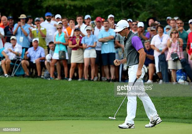 Rory McIlroy of Northern Ireland celebrates a putt for eagle on the tenth hole during the final round of the 96th PGA Championship at Valhalla Golf...