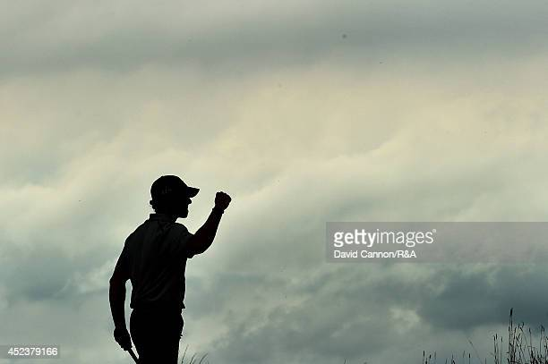 Rory McIlroy of Northern Ireland celebrates after a birdie on the 14th hole during the third round of The 143rd Open Championship at Royal Liverpool...