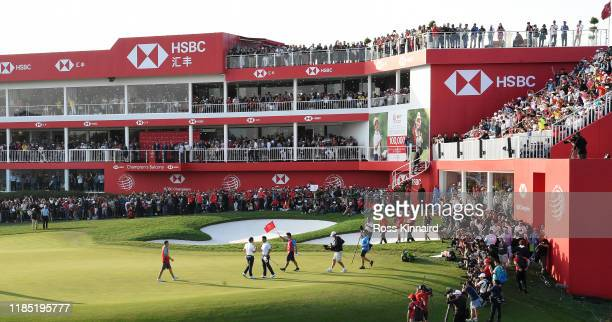 Rory McIlroy of Northern Ireland celebrates after winning at the first play-off hole during the final round of the WGC HSBC Champions at Sheshan...