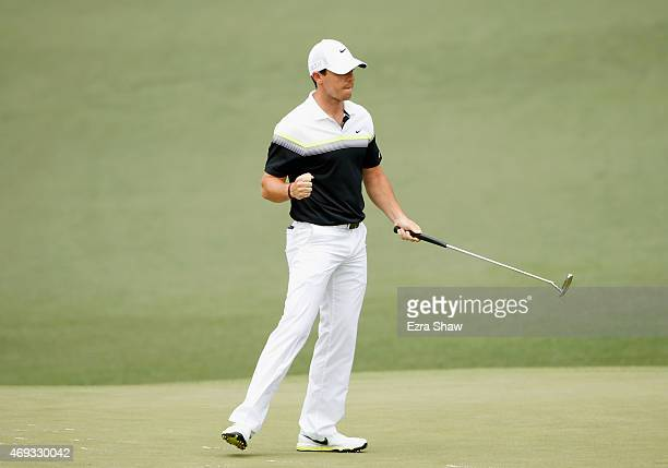Rory McIlroy of Northern Ireland celebrates an eagle putt on the second hole during the third round of the 2015 Masters Tournament at Augusta...