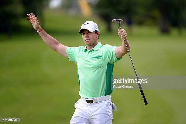 Rory McIlroy of Northern Ireland celebrates his berdie on the par four 9th hole during the first round of the Irish Open at the Fota Island Resort on...