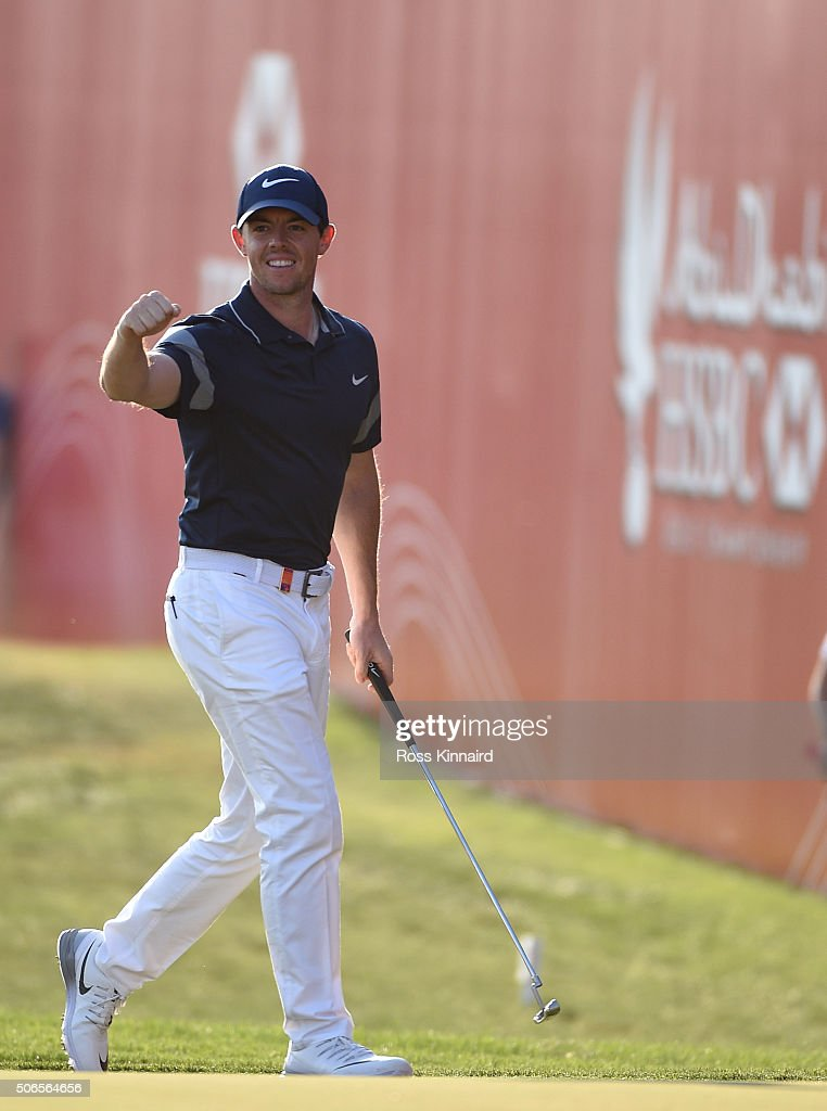 Rory McIlroy of Northern Ireland celebrates his eagle on the 18th green during the final round of the Abu Dhabi HSBC Golf Championship at the Abu Dhabi Golf Club on January 24, 2016 in Abu Dhabi, United Arab Emirates.
