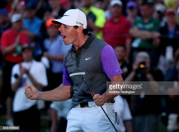 Rory McIlroy of Northern Ireland celebrates his onestroke victory on the 18th green during the final round of the 96th PGA Championship at Valhalla...