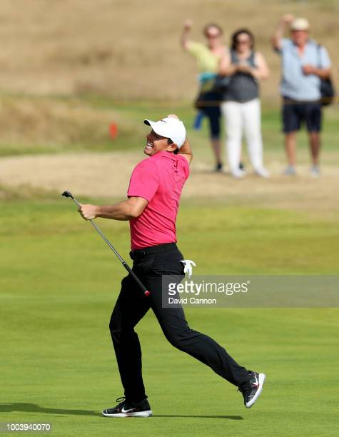 Rory McIlroy of Northern Ireland celebrates holing a eagle putt on the 14th hole during the final round of the 147th Open Championship at Carnoustie...