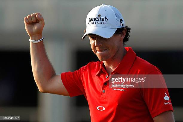 Rory McIlroy of Northern Ireland celebrates on the 18th green during the Final Round of the 94th PGA Championship at the Ocean Course on August 12,...