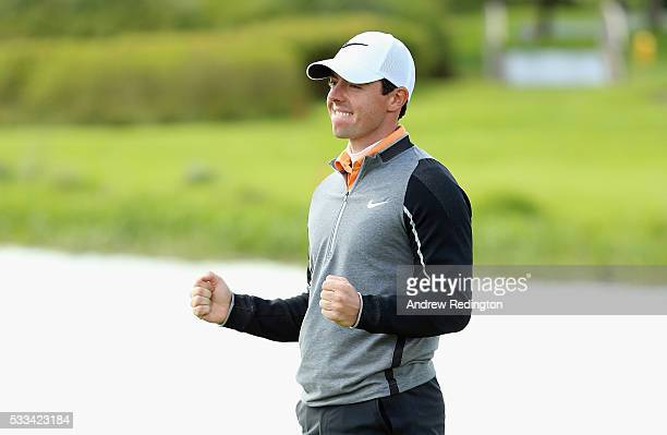 Rory McIlroy of Northern Ireland celebrates on the 18th green during the final round of the Dubai Duty Free Irish Open Hosted by the Rory Foundation...