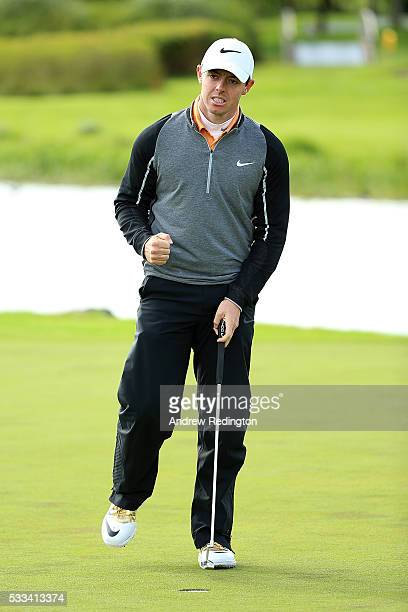 Rory McIlroy of Northern Ireland celebrates on the 18th green following his victory during the final round of the Dubai Duty Free Irish Open Hosted...