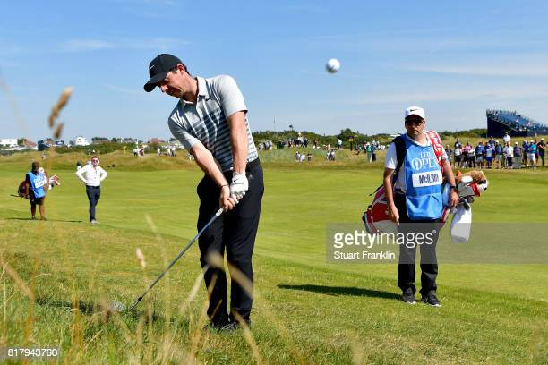 Rory McIlroy of Northern Ireland chips from the rough during a practice round prior to the 146th Open Championship at Royal Birkdale on July 18, 2017...