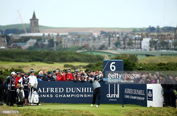 Rory McIlroy of Northern Ireland drives off the sixth tee during the third round of the 2014 Alfred Dunhill Links Championship at The Old Course on...