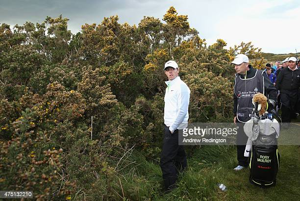Rory McIlroy of Northern Ireland finds trouble on the 18th hole during the Second Round of the Dubai Duty Free Irish Open Hosted by the Rory...