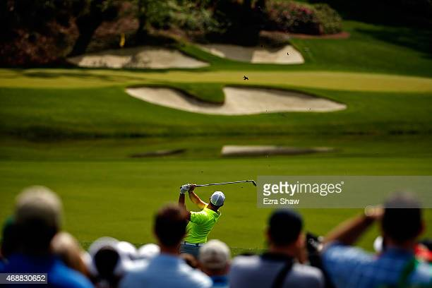 Rory McIlroy of Northern Ireland hits a shot during a practice round prior to the start of the 2015 Masters Tournament at Augusta National Golf Club...