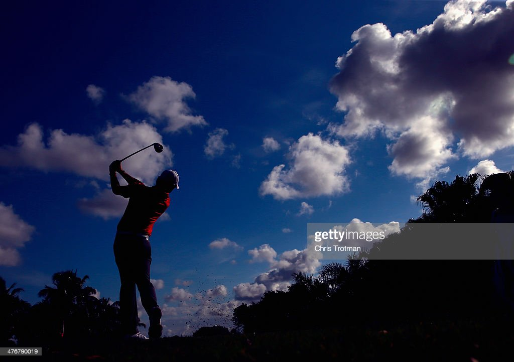 Rory McIlroy of Northern Ireland hits a shot during a practice round prior to the start of the World Golf Championships-Cadillac Championship at Trump National Doral on March 5, 2014 in Doral, Florida.