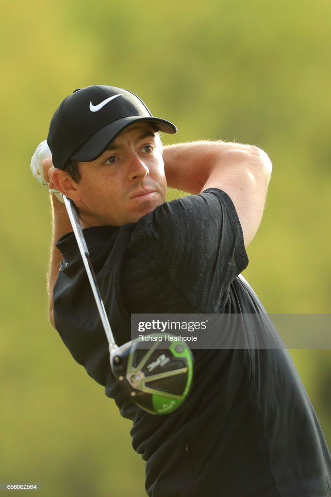 Rory McIlroy of Northern Ireland hits a shot during a practise round for the WGC Dell Match Play at Austin Country Club on March 21, 2017 in Austin, Texas.