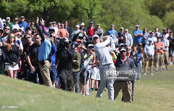 Rory McIlroy of Northern Ireland hits a shot from the rough on the second hole during the third round of the World Golf ChampionshipsDell Match Play...