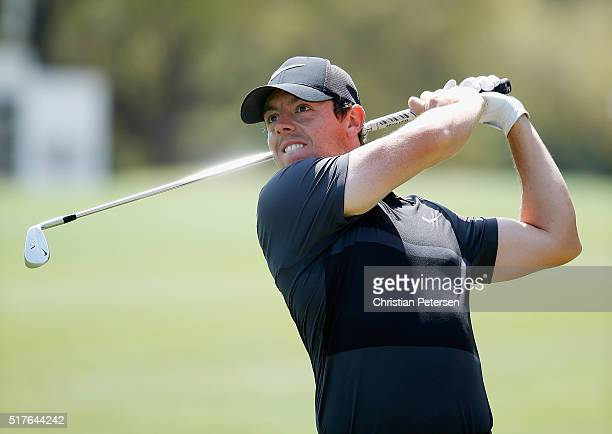 Rory McIlroy of Northern Ireland hits a shot on the sixth hole during the round of 8 in the World Golf ChampionshipsDell Match Play at the Austin...