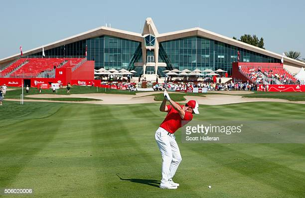 Rory McIlroy of Northern Ireland hits a shot to the ninth green during the first round of the Abu Dhabi HSBC Golf Championship at the Abu Dhabi Golf...