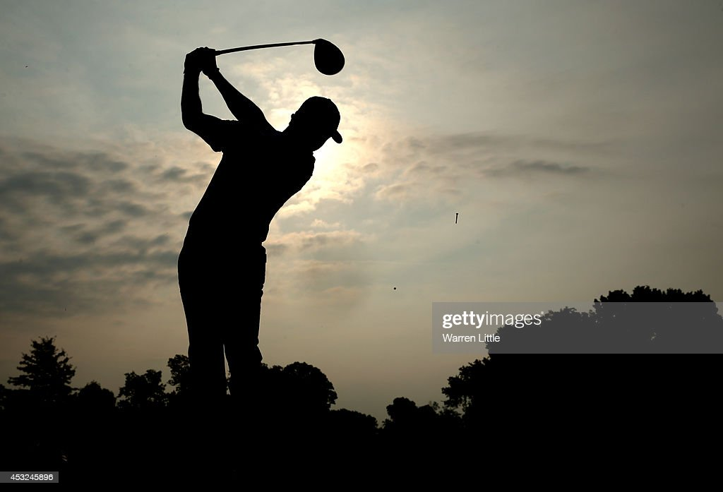Rory McIlroy of Northern Ireland hits a tee shot during a practice round prior to the start of the 96th PGA Championship at Valhalla Golf Club on August 6, 2014 in Louisville, Kentucky.