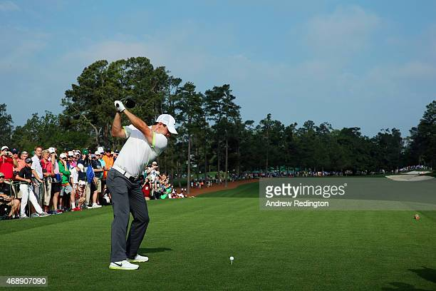 Rory McIlroy of Northern Ireland hits a tee shot during a practice round prior to the start of the 2015 Masters Tournament at Augusta National Golf...