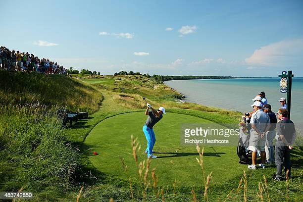 Rory McIlroy of Northern Ireland hits a tee shot during a practice round prior to the 2015 PGA Championship at Whistling Straits on August 12 2015 in...
