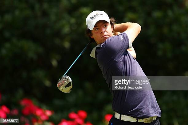 Rory McIlroy of Northern Ireland hits a tee shot during a practice round prior to the start of THE PLAYERS Championship held at THE PLAYERS Stadium...