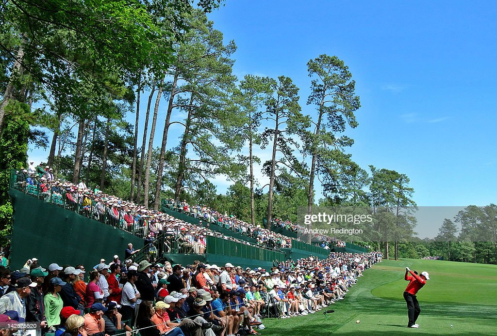 Rory McIlroy of Northern Ireland hits a tee shot on the 14th hole during the second round of the 2012 Masters Tournament at Augusta National Golf Club on April 6, 2012 in Augusta, Georgia.
