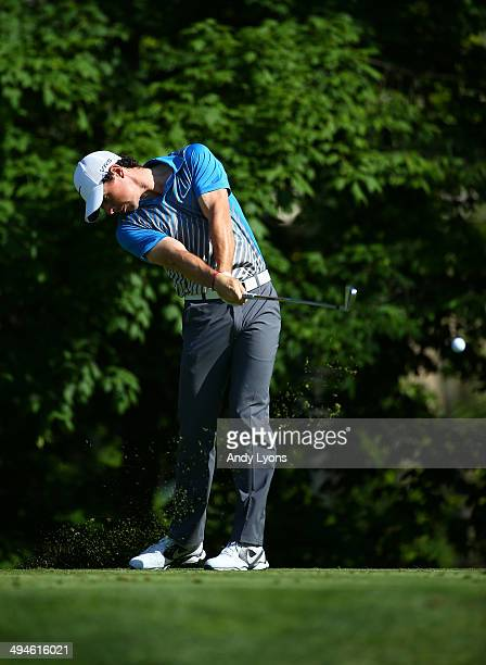 Rory McIlroy of Northern Ireland hits a tee shot on the 14th hole during the second round of the Memorial Tournament presented by Nationwide...