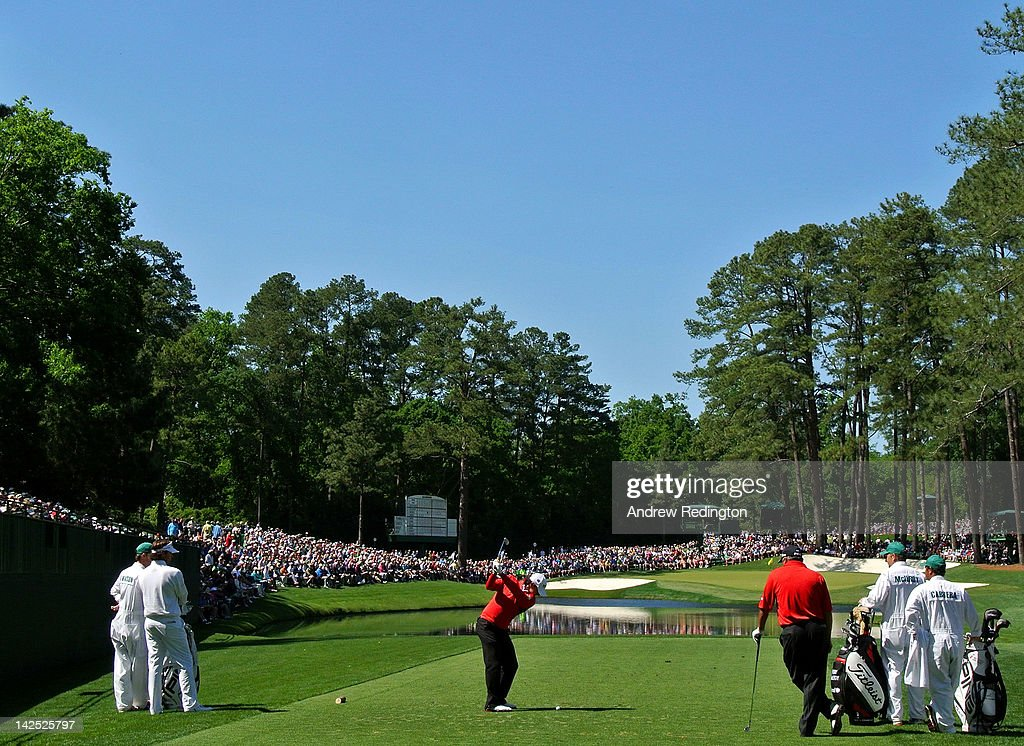 Rory McIlroy of Northern Ireland hits a tee shot on the 16th hole during the second round of the 2012 Masters Tournament at Augusta National Golf Club on April 6, 2012 in Augusta, Georgia.