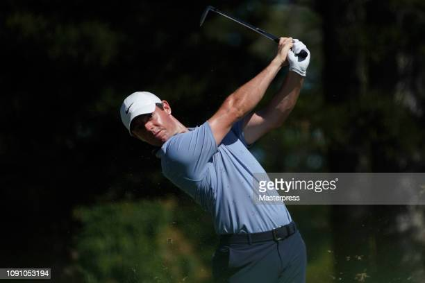 Rory McIlroy of Northern Ireland hits a tee shot on the 2nd hole during the final round of the Sentry Tournament of Champions at the Plantation...