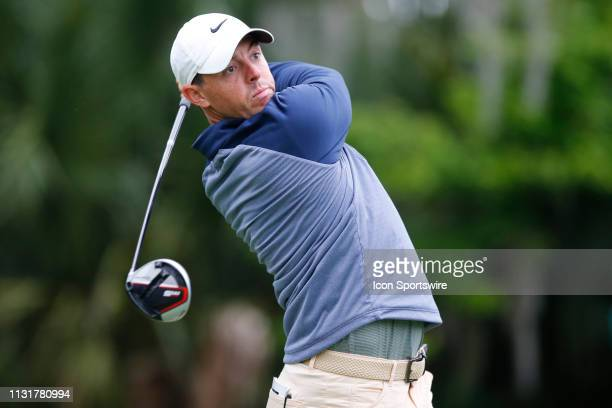 Rory McIlroy of Northern Ireland hits a tee shot on the seventh hole during the final round of THE PLAYERS Championship on March 17 2019 on the...