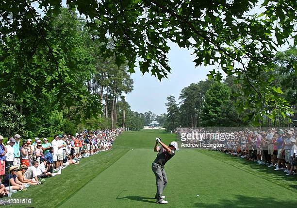 Rory McIlroy of Northern Ireland hits a tee shot shot during a practice round prior to the start of the 2012 Masters Tournament at Augusta National...