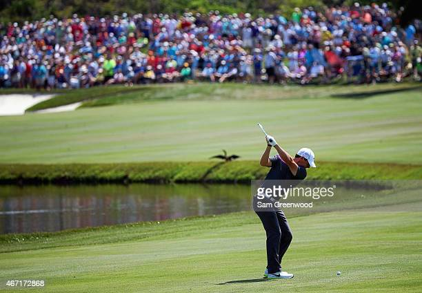 Rory McIlroy of Northern Ireland hits an approach shot on the sixth hole during the third round of the Arnold Palmer Invitational Presented By...