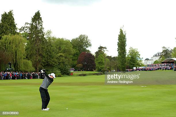 Rory McIlroy of Northern Ireland hits his 2nd shot on the 16th hole during the final round of the Dubai Duty Free Irish Open Hosted by the Rory...
