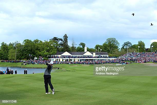 Rory McIlroy of Northern Ireland hits his 2nd shot on the 18th hole during the final round of the Dubai Duty Free Irish Open Hosted by the Rory...