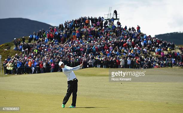 Rory McIlroy of Northern Ireland hits his 2nd shot on the 2nd hole during the Second Round of the Dubai Duty Free Irish Open Hosted by the Rory...