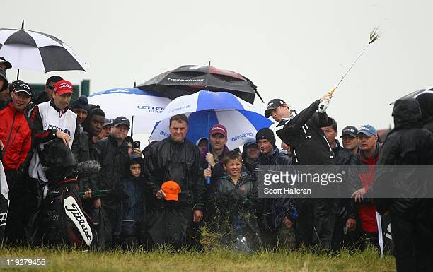 Rory McIlroy of Northern Ireland hits his 2nd shot on the 9th hole during the third round of The 140th Open Championship at Royal St George's on July...