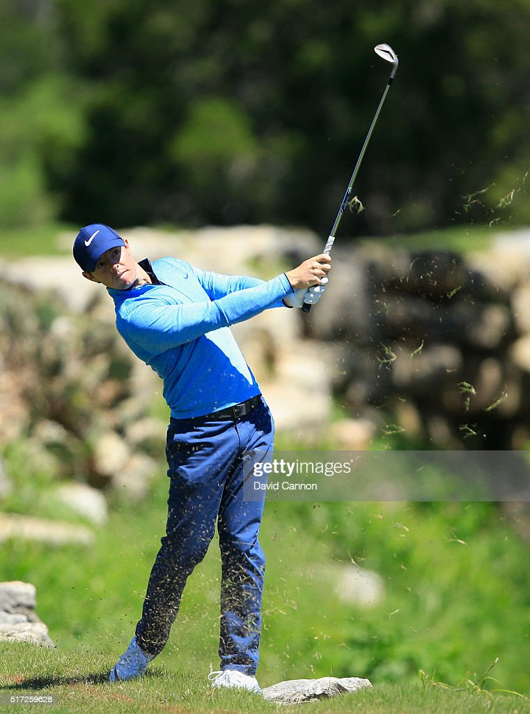 Rory McIlroy of Northern Ireland hits his approach shot on the second hole during the second round of the World Golf Championships-Dell Match Play at the Austin Country Club on March 24, 2016 in Austin, Texas.