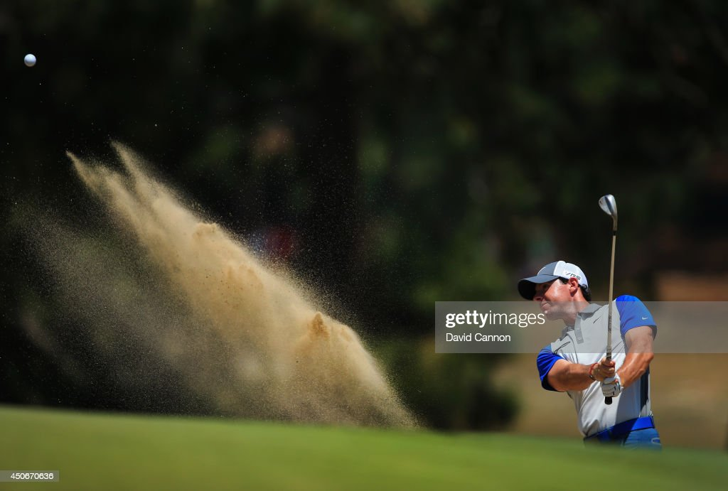 Rory McIlroy of Northern Ireland hits his second shot from a bunker on the third hole during the final round of the 114th U.S. Open at Pinehurst Resort & Country Club, Course No. 2 on June 15, 2014 in Pinehurst, North Carolina.