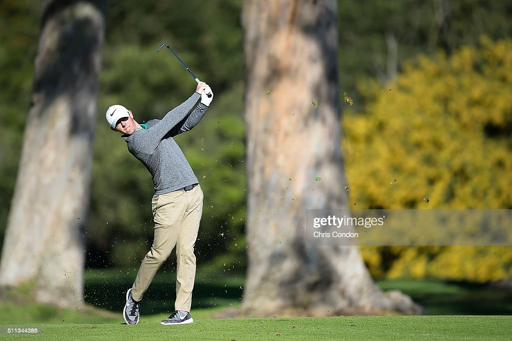 Rory McIlroy of Northern Ireland hits his second shot on the 13th hole during the second round of the Northern Trust Open at Riviera Country Club on February 19, 2016 in Pacific Palisades, California.