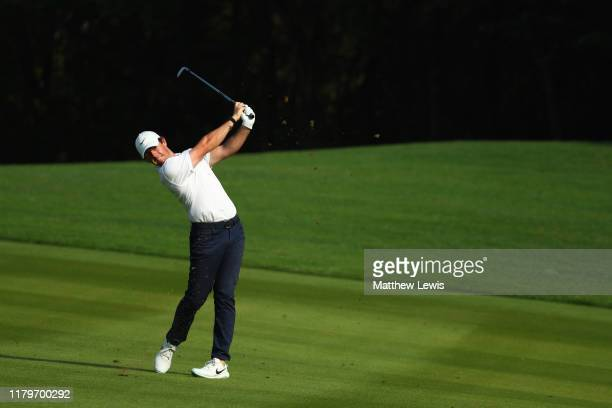 Rory McIlroy of Northern Ireland hits his second shot on the 15th hole during Day Four of the WGC HSBC Champions at Sheshan International Golf Club...