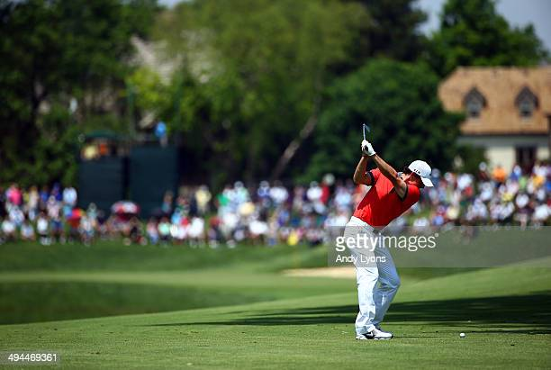 Rory McIlroy of Northern Ireland hits his second shot on the fifth hole during the first round of the Memorial Tournament presented by Nationwide...