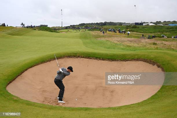 Rory McIlroy of Northern Ireland hits his second shot on the second hole during the second round of the 148th Open Championship held on the Dunluce...