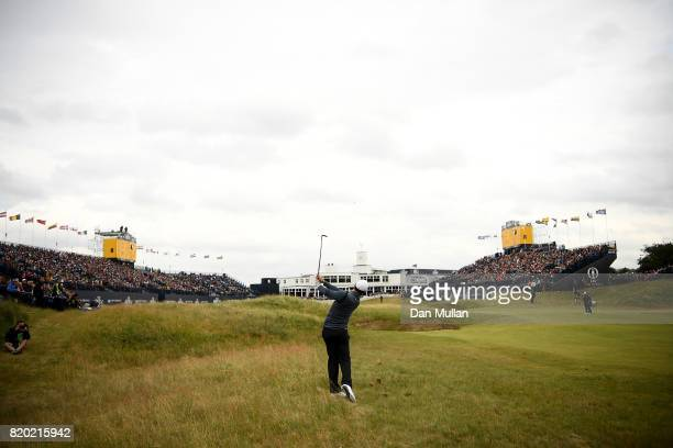 Rory McIlroy of Northern Ireland hits his second shot to the 18th hole during the second round of the 146th Open Championship at Royal Birkdale on...