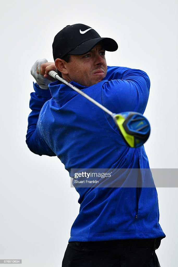 Rory McIlroy of Northern Ireland hits his tee shot on the 13th during the second round on day two of the 145th Open Championship at Royal Troon on July 15, 2016 in Troon, Scotland.