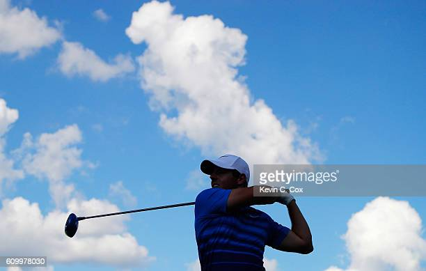 Rory McIlroy of Northern Ireland hits his tee shot on the 16th hole during the second round of the TOUR Championship at East Lake Golf Club on...