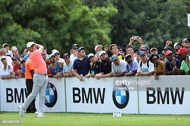 Rory McIlroy of Northern Ireland hits his tee shot on the 17th hole during day four of the BMW South African Open Championship at Glendower Golf Club...