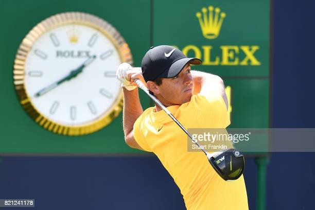 Rory McIlroy of Northern Ireland hits his tee shot on the 1st hole during the final round of the 146th Open Championship at Royal Birkdale on July 23...