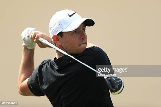 Rory McIlroy of Northern Ireland hits his tee shot on the 3rd hole during day three of the DP World Tour Championship at Jumeirah Golf Estates on...
