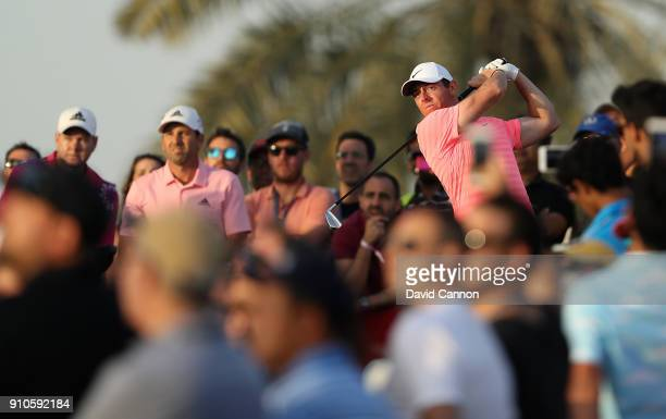Rory McIlroy of Northern Ireland hits his tee shot on the 9th hole during round two of the Omega Dubai Desert Classic at Emirates Golf Club on...