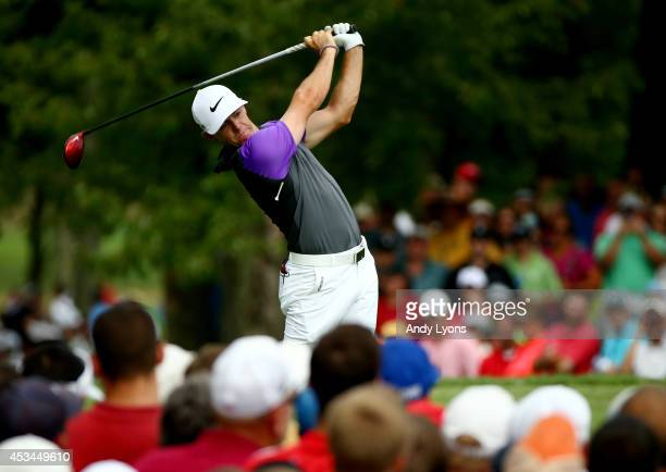 Rory McIlroy of Northern Ireland hits his tee shot on the fifth hole during the final round of the 96th PGA Championship at Valhalla Golf Club on...